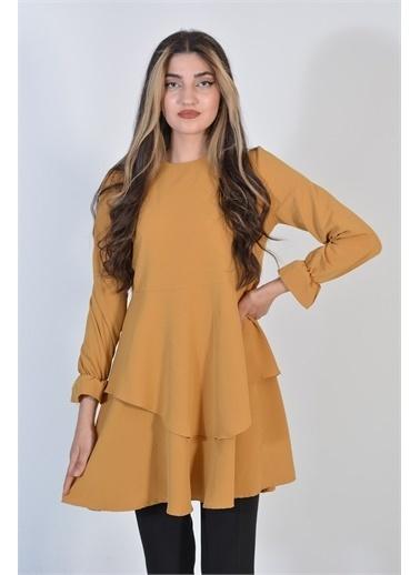 Zeren Kadın Hardal Asimetrik Kesim Çift Katlı Elbise Pudra
